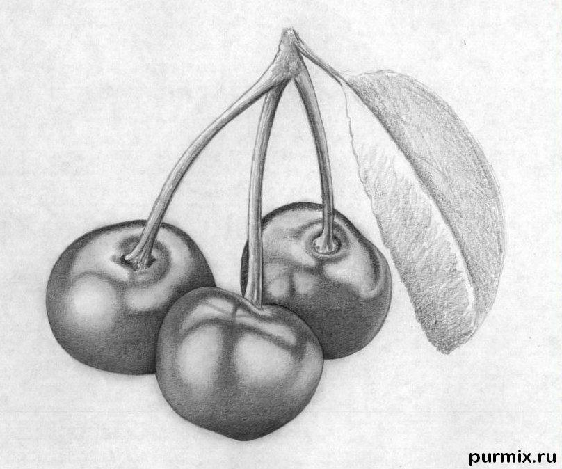 Рисуем вишни карандашами - шаг 8