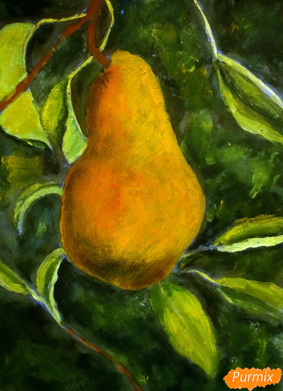 Рисуем гуашью грушу освещенную солнцем - шаг 10