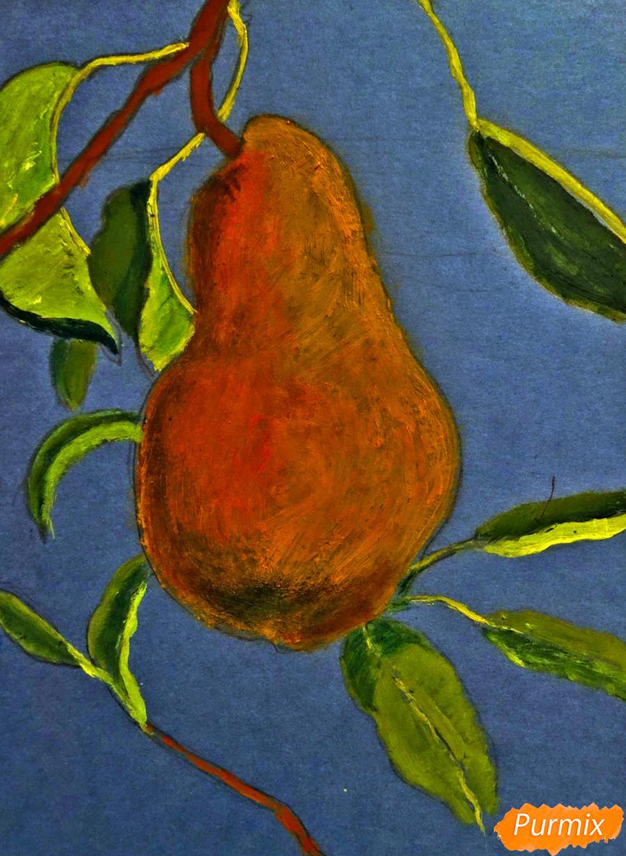 Рисуем гуашью грушу освещенную солнцем - шаг 6
