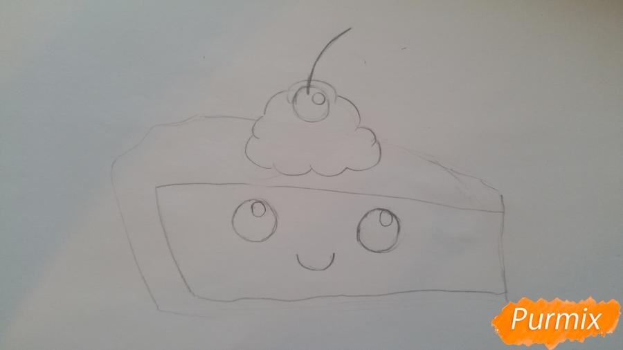 Рисуем кусочек тортика - шаг 4