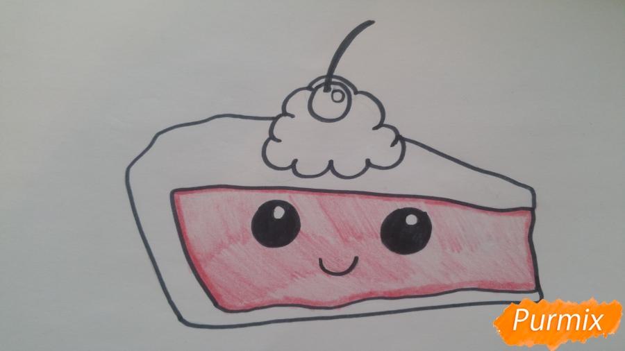 Рисуем кусочек тортика - шаг 6