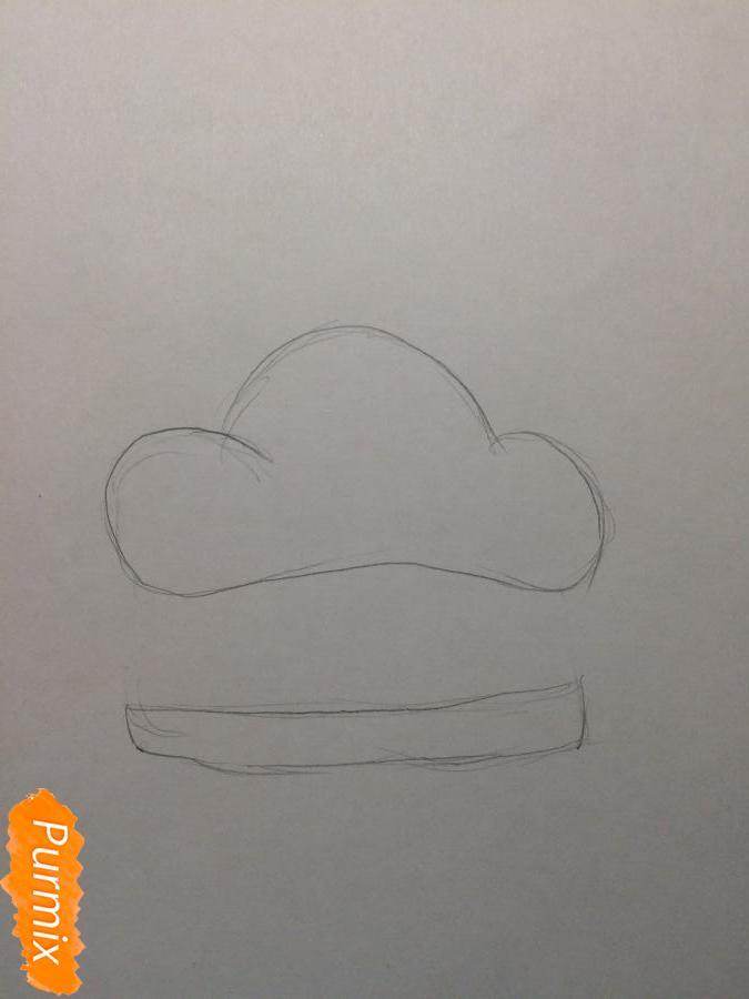 Рисуем миленький бургер с глазками - шаг 1