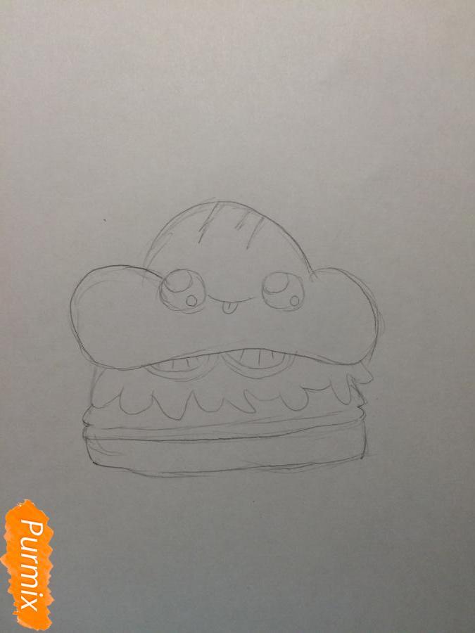 Рисуем миленький бургер с глазками - шаг 3
