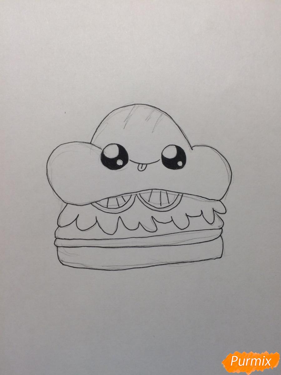 Рисуем миленький бургер с глазками - шаг 4