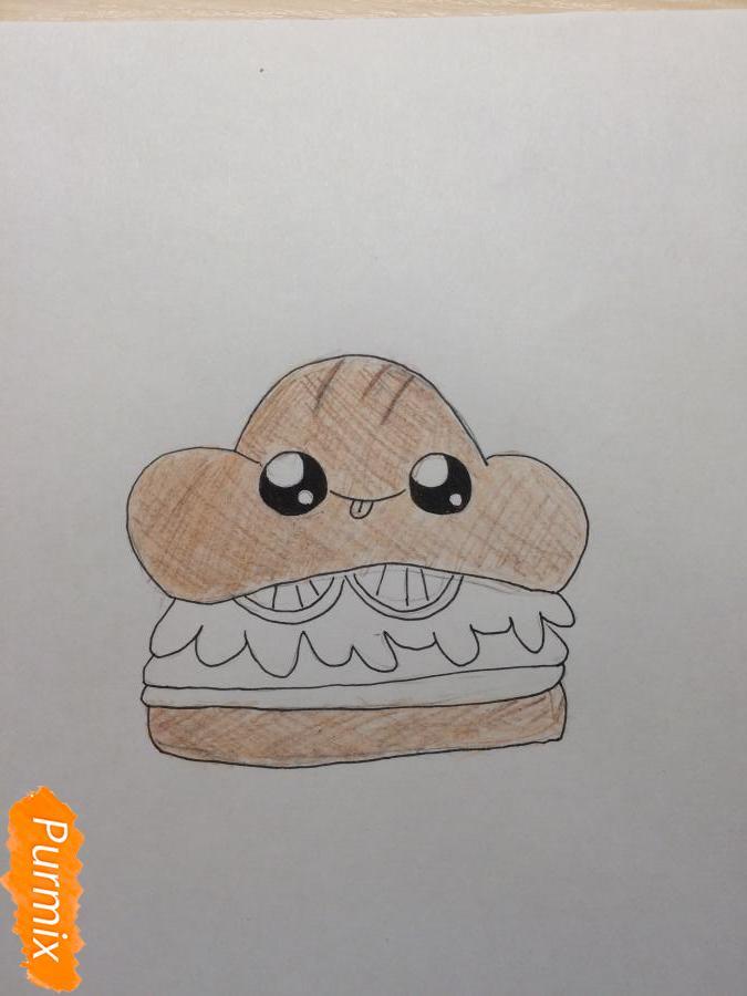 Рисуем миленький бургер с глазками - шаг 5
