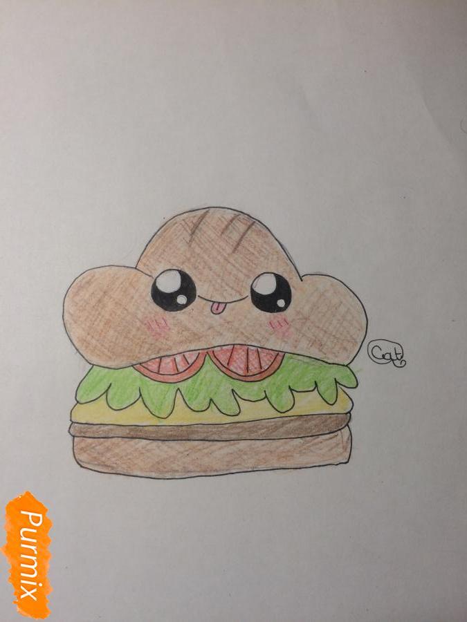 Рисуем миленький бургер с глазками - шаг 7