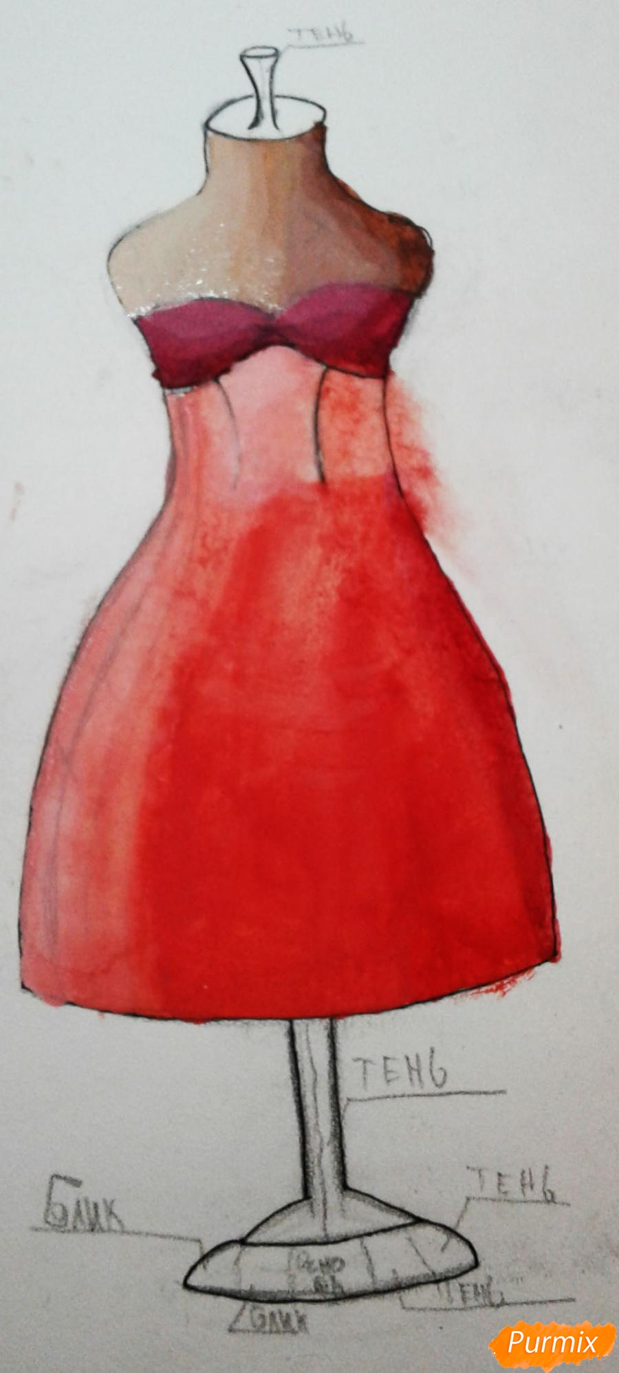 Рисуем и раскрасить платье на манекене акварелью - шаг 8