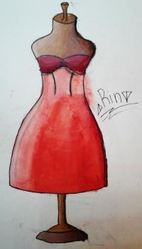 Фото платье на манекене акварелью