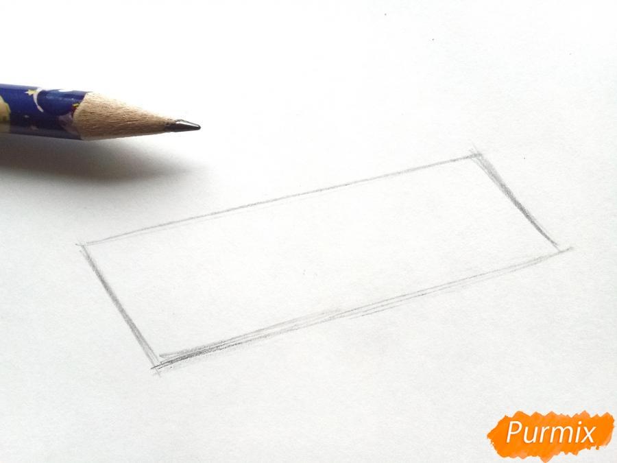 Рисуем санки карандашами - шаг 1