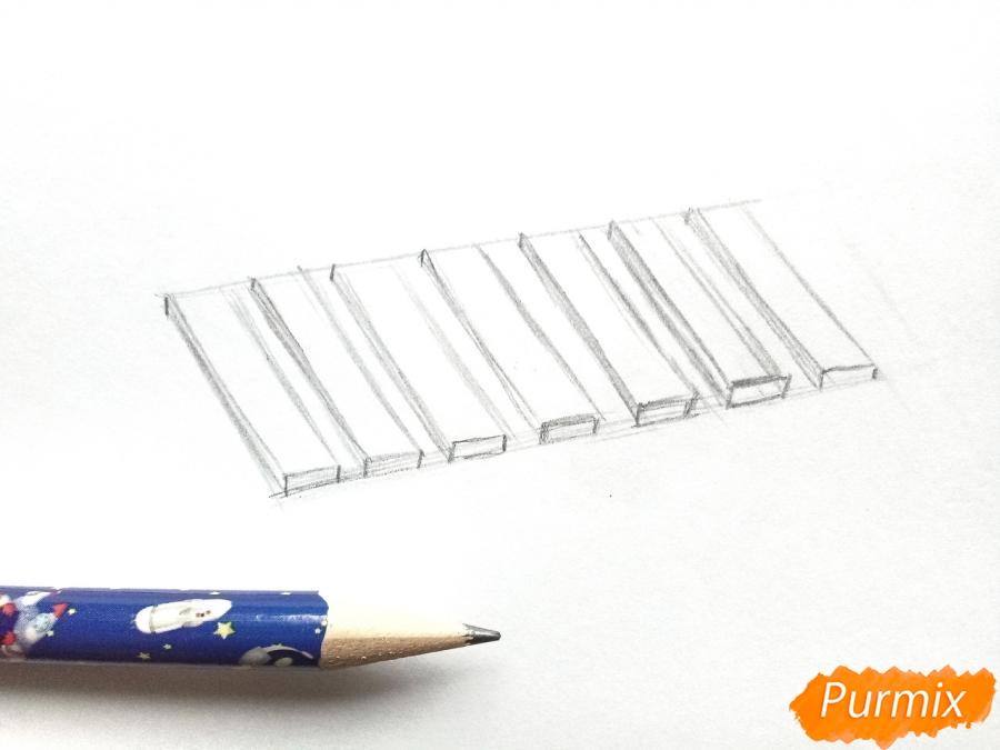 Рисуем санки карандашами - шаг 2