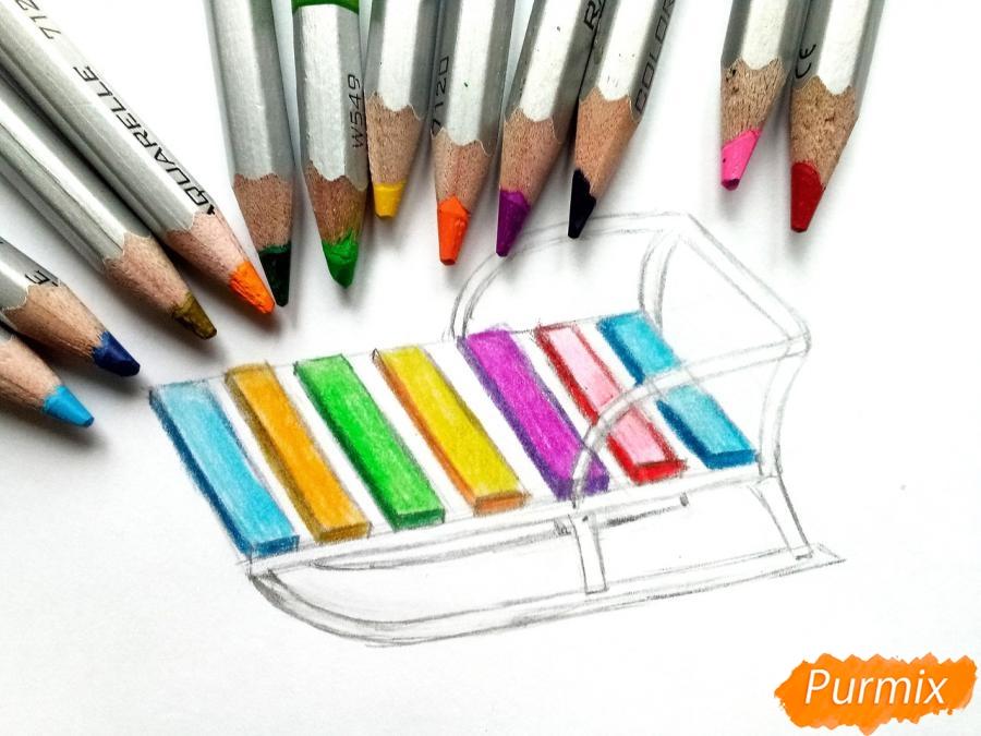 Рисуем санки карандашами - шаг 5