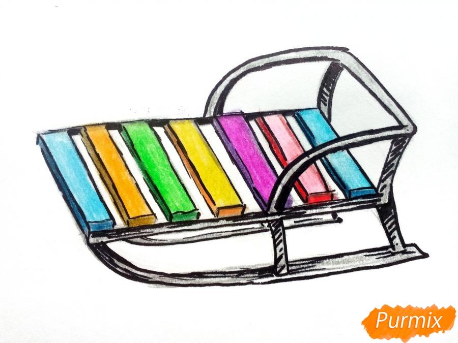 Рисуем санки карандашами - шаг 7