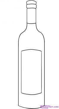 Фото бутылку вина карандашом