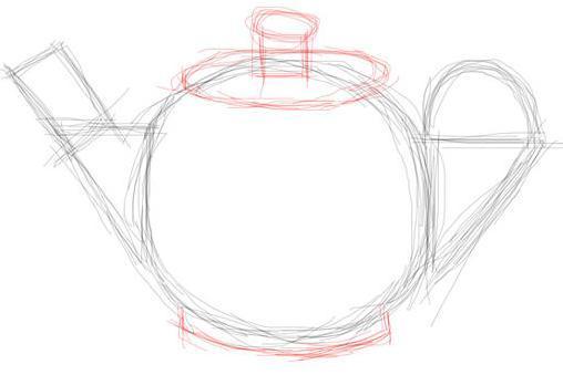 Рисуем чайник - шаг 4