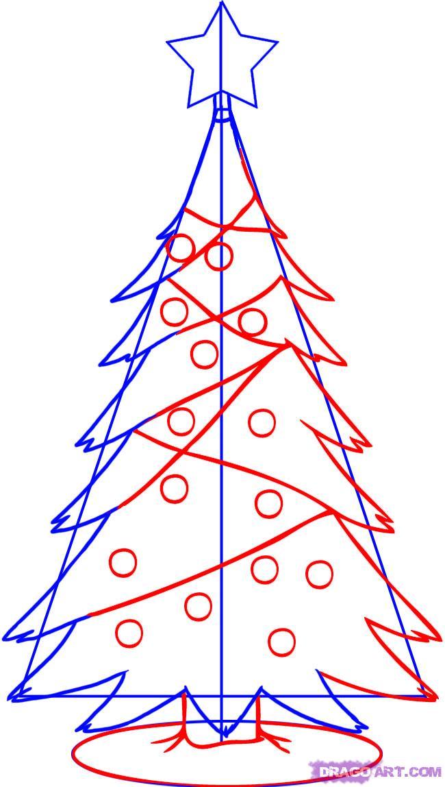 Рисуем новогоднюю елку - шаг 3