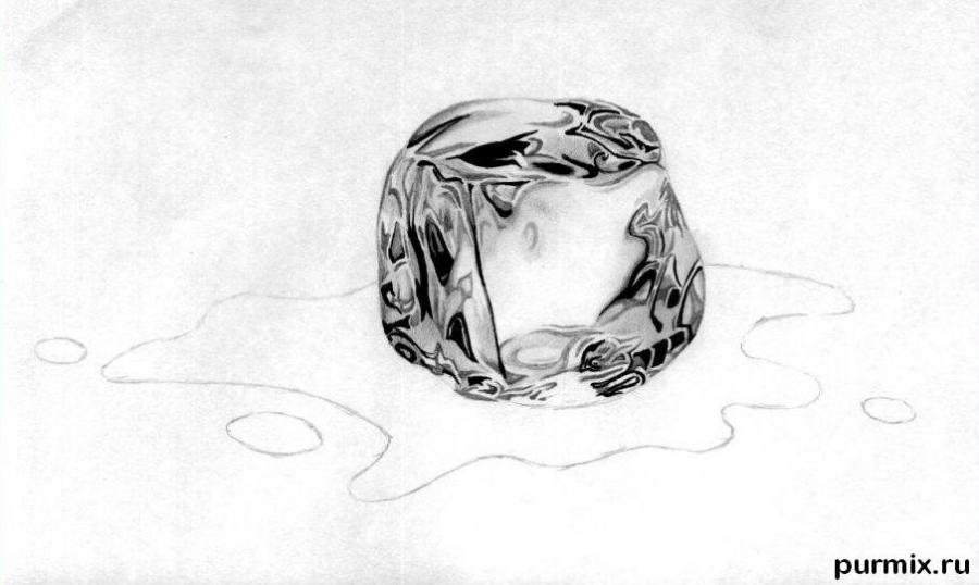 Рисуем кубик льда - шаг 4
