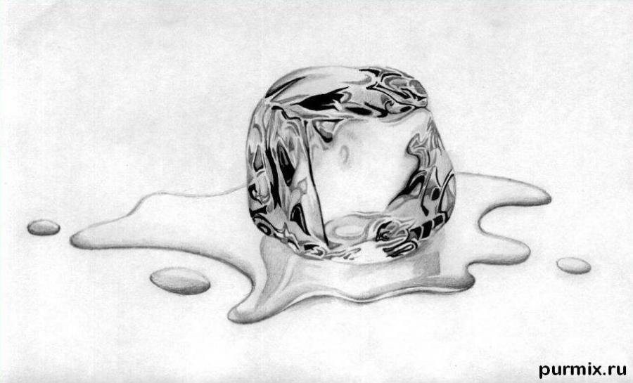 Рисуем кубик льда - шаг 5