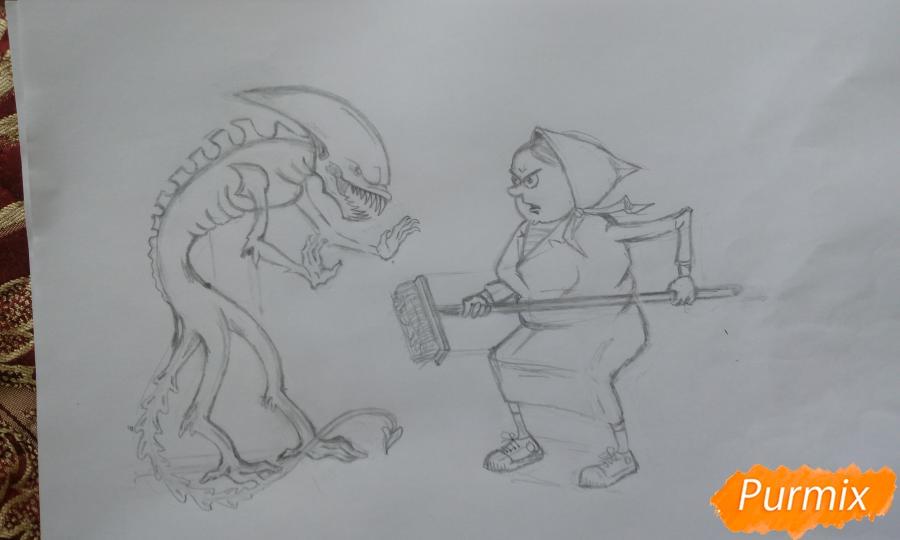 Карикатура: чужой в общежитии и как с ним бороться поэтапный урок - шаг 11