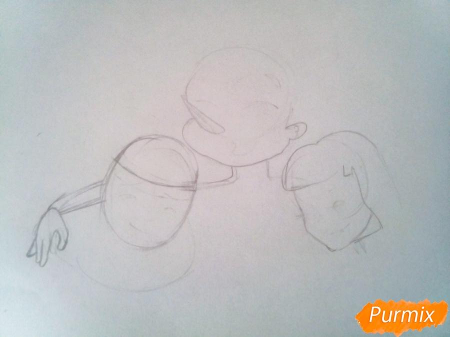 Рисуем Буратино, Пьеро и Мальвину вместе карандашами - шаг 1