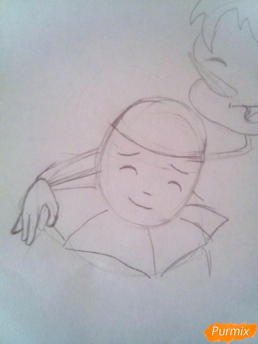 Рисуем Буратино, Пьеро и Мальвину вместе карандашами - шаг 4