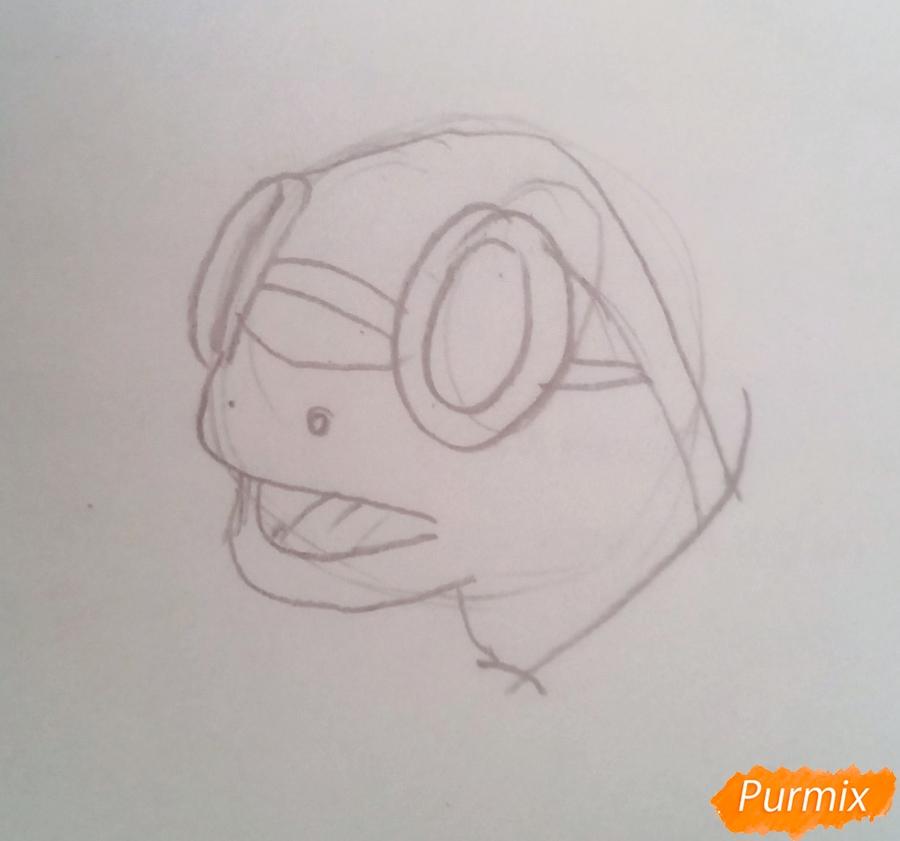 Рисуем черепаху Тортиллу цветными  карандашами - шаг 2