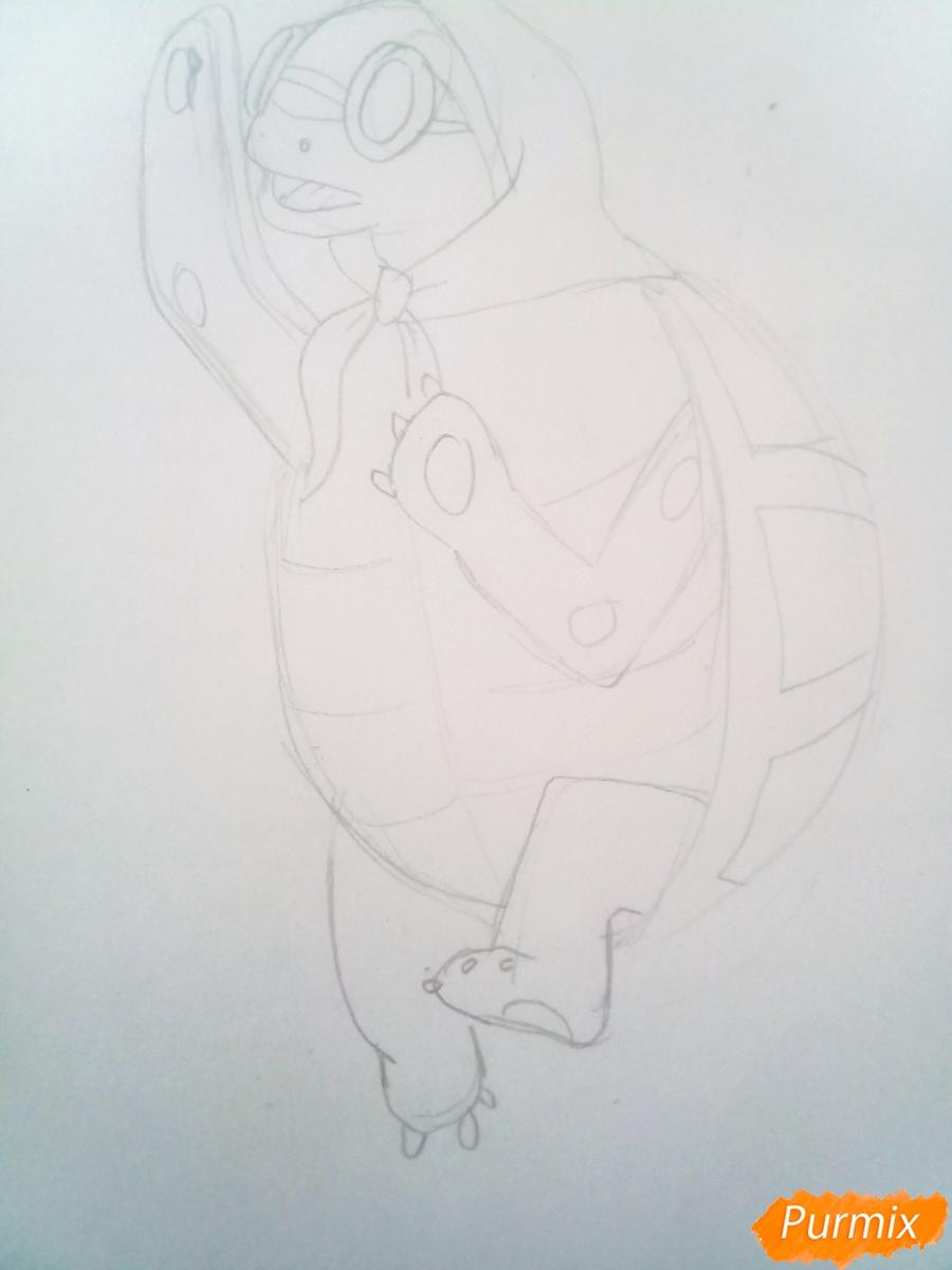 Рисуем черепаху Тортиллу цветными  карандашами - шаг 6