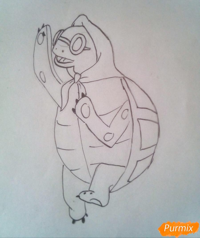 Рисуем черепаху Тортиллу цветными  карандашами - шаг 7