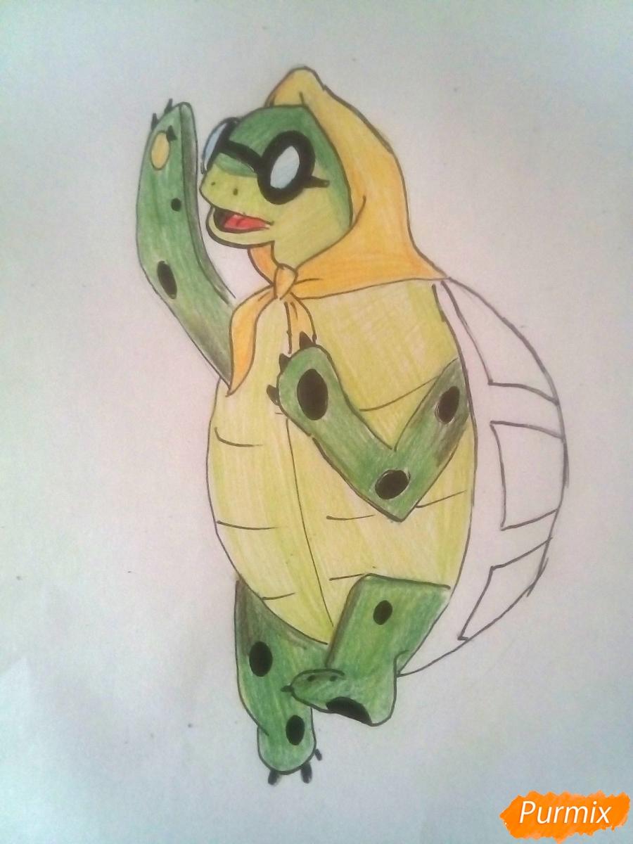 Рисуем черепаху Тортиллу цветными  карандашами - шаг 9