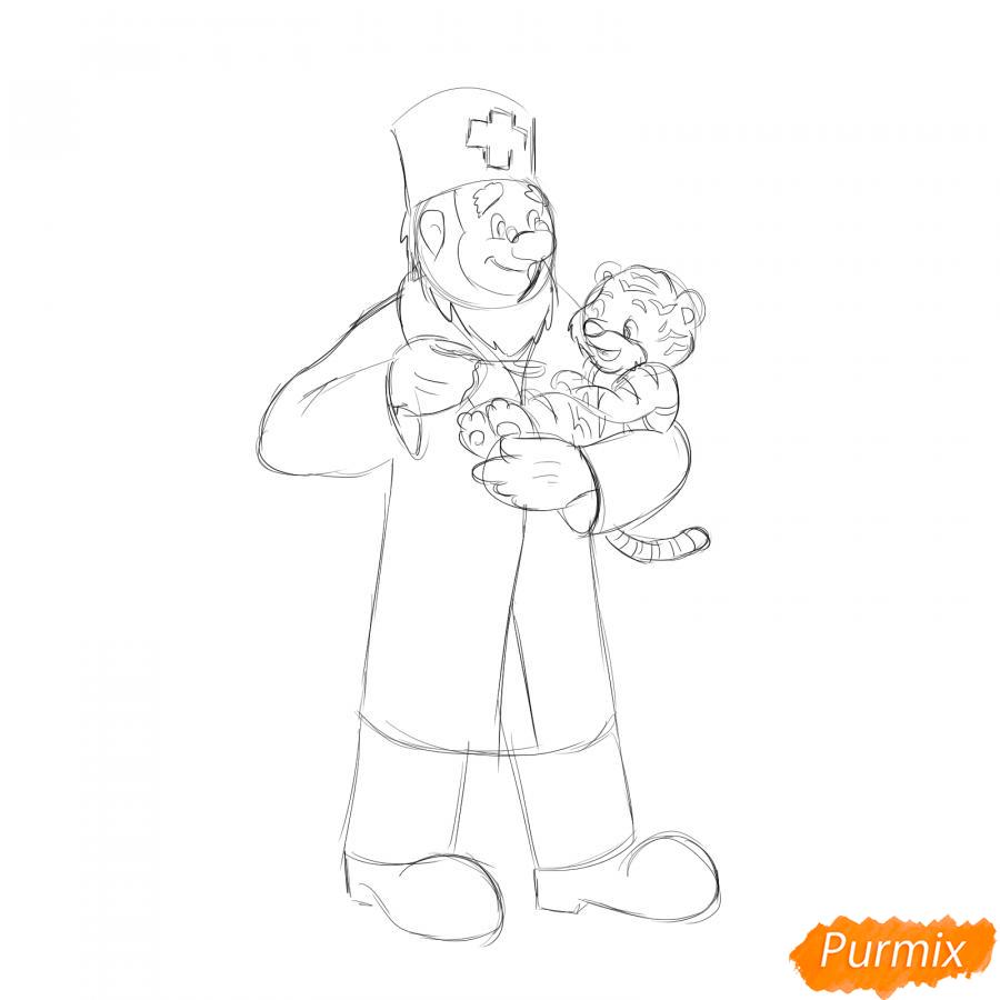 Рисуем доктора Айболита - шаг 4