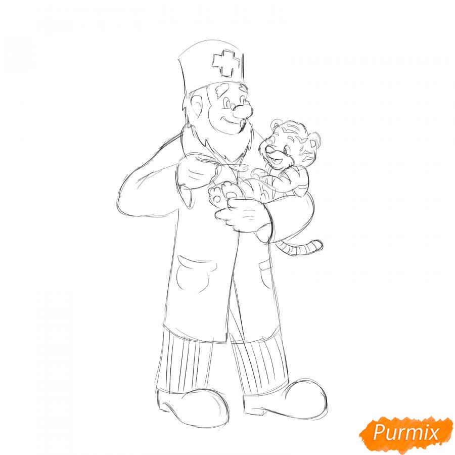 Рисуем доктора Айболита - шаг 5