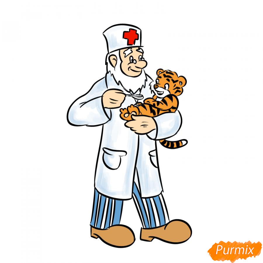 Рисуем доктора Айболита - шаг 8