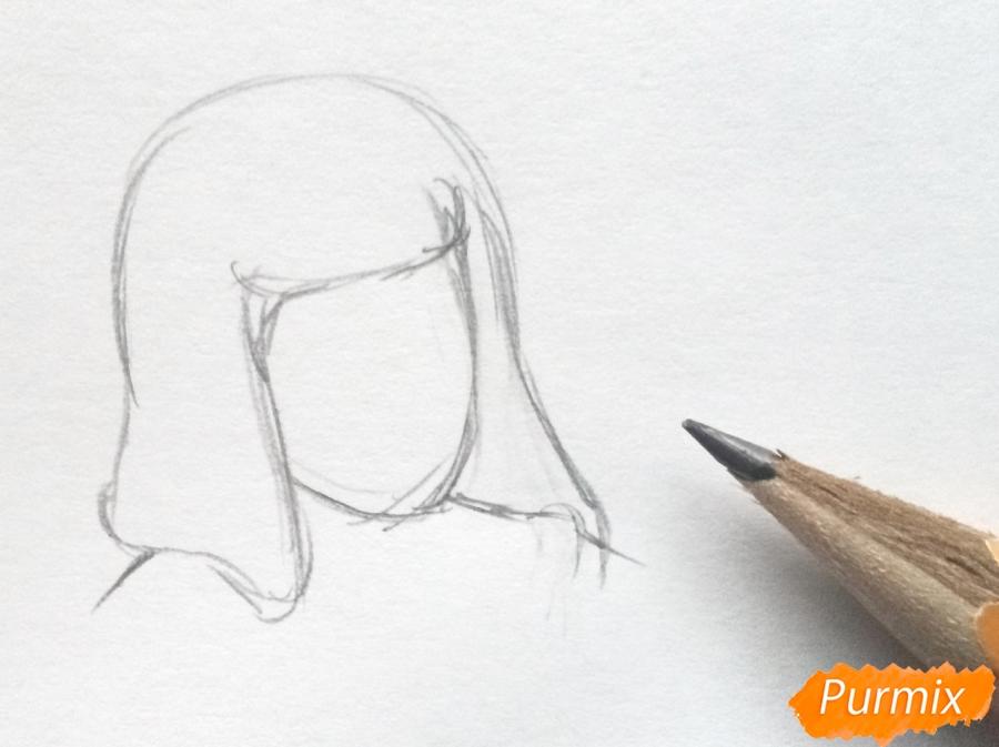 Рисуем Герду из сказки Снежная королева карандашами - шаг 1