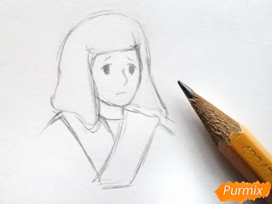 Рисуем Герду из сказки Снежная королева карандашами - шаг 2