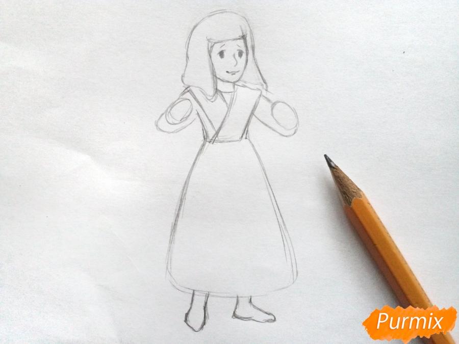 Рисуем Герду из сказки Снежная королева карандашами - шаг 3