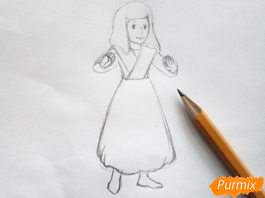 Рисуем Герду из сказки Снежная королева карандашами - шаг 4