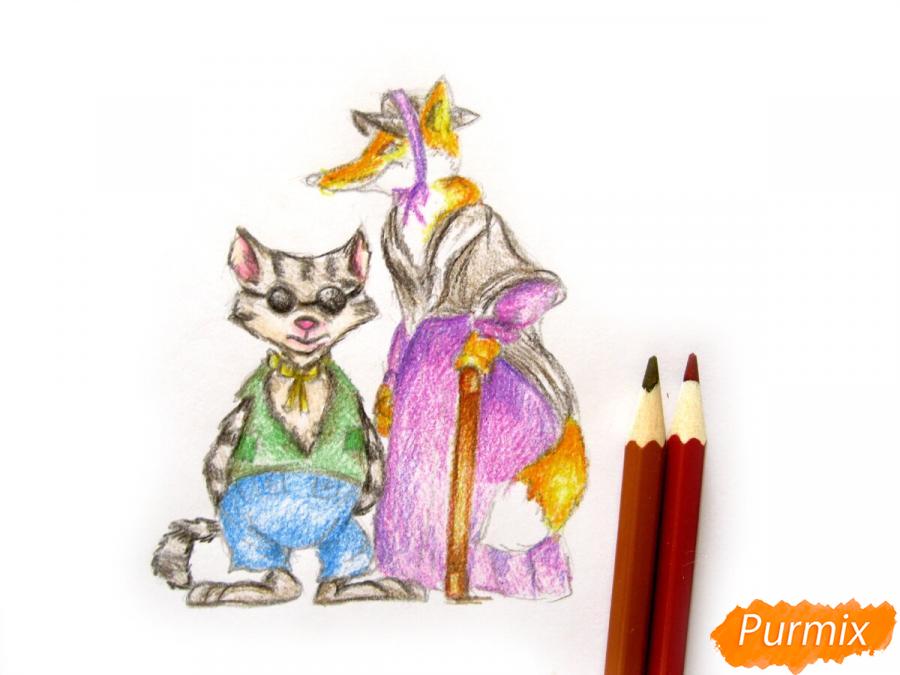 Рисуем и раскрасить кота Базилио и лису Алису - шаг 12