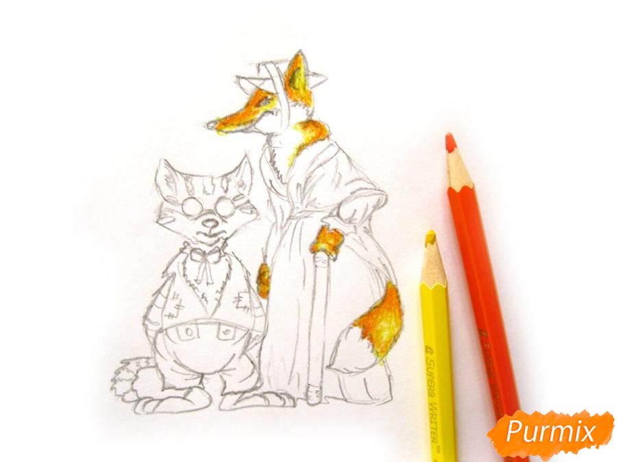 Рисуем и раскрасить кота Базилио и лису Алису - шаг 6