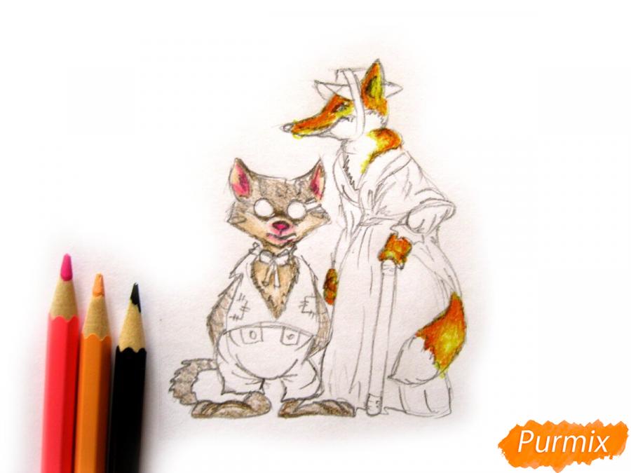 Рисуем и раскрасить кота Базилио и лису Алису - шаг 7