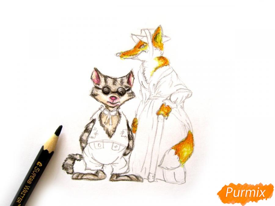 Рисуем и раскрасить кота Базилио и лису Алису - шаг 8