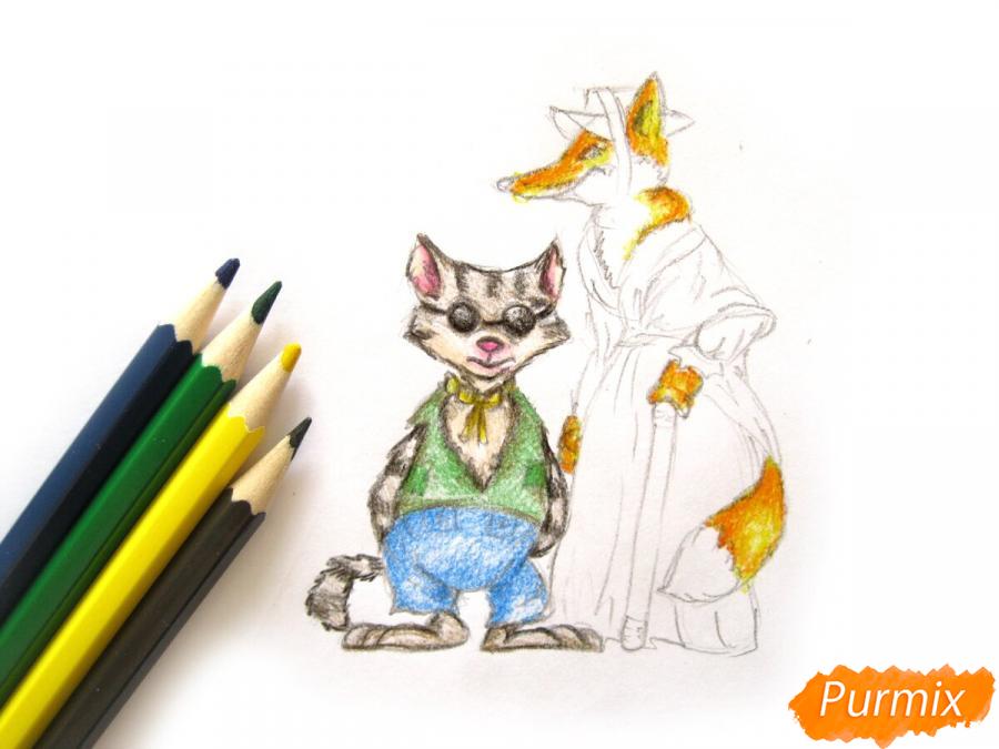 Рисуем и раскрасить кота Базилио и лису Алису - шаг 9