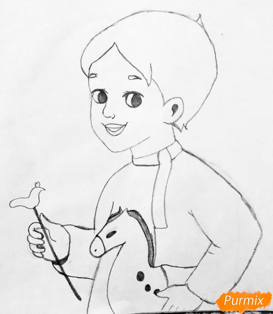 Рисуем Иванушку из сказки Гуси Лебеди - шаг 3