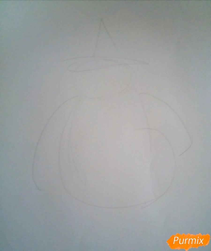 Рисуем Карабаса Барабаса из Буратино - шаг 1