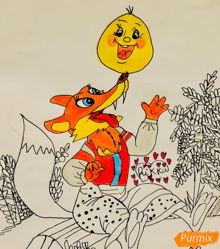 Рисуем колобка и личику цветными карандашами - шаг 10