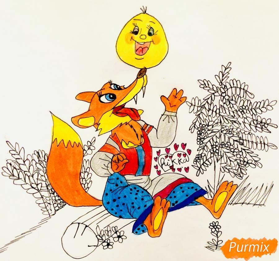 Рисуем колобка и личику цветными карандашами - шаг 11