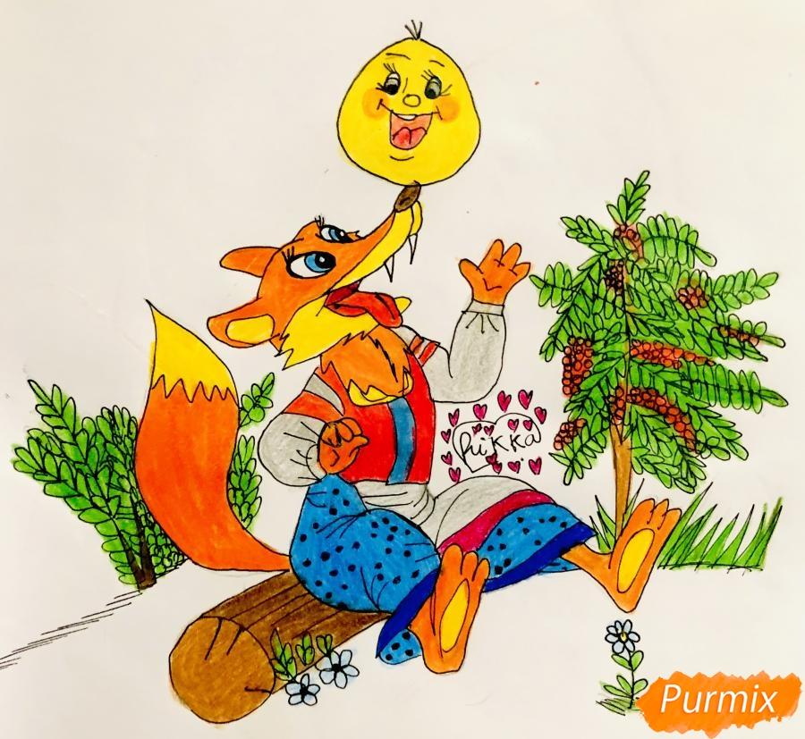 Рисуем колобка и личику цветными карандашами - шаг 12