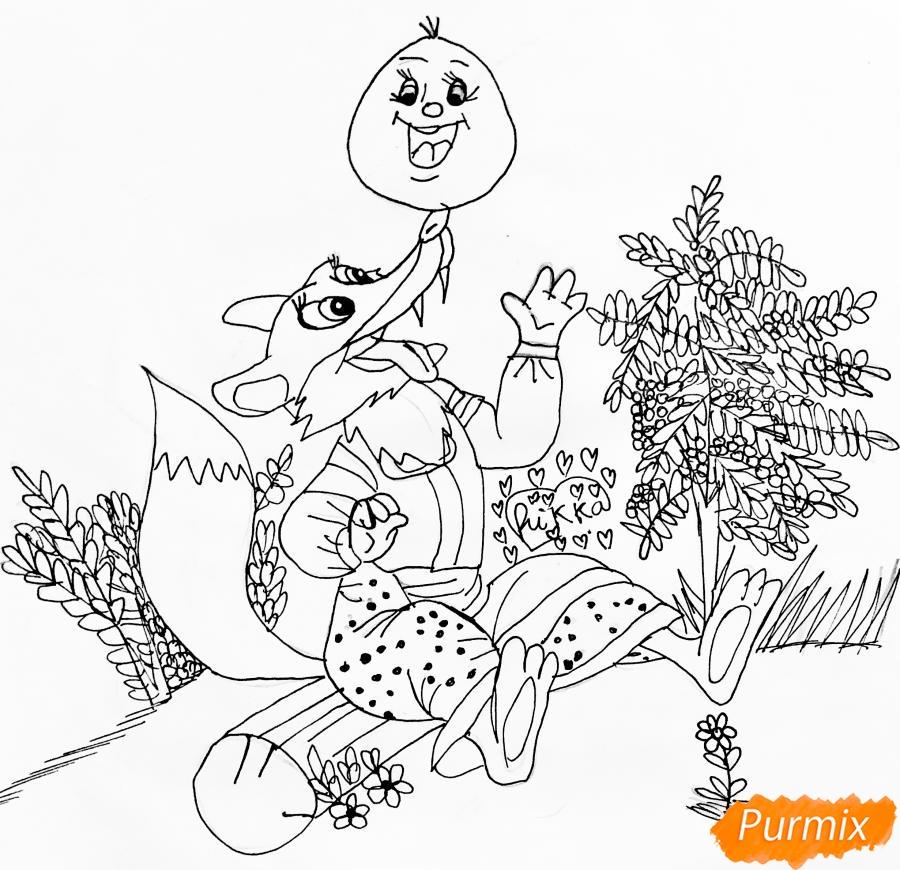 Рисуем колобка и личику цветными карандашами - шаг 7