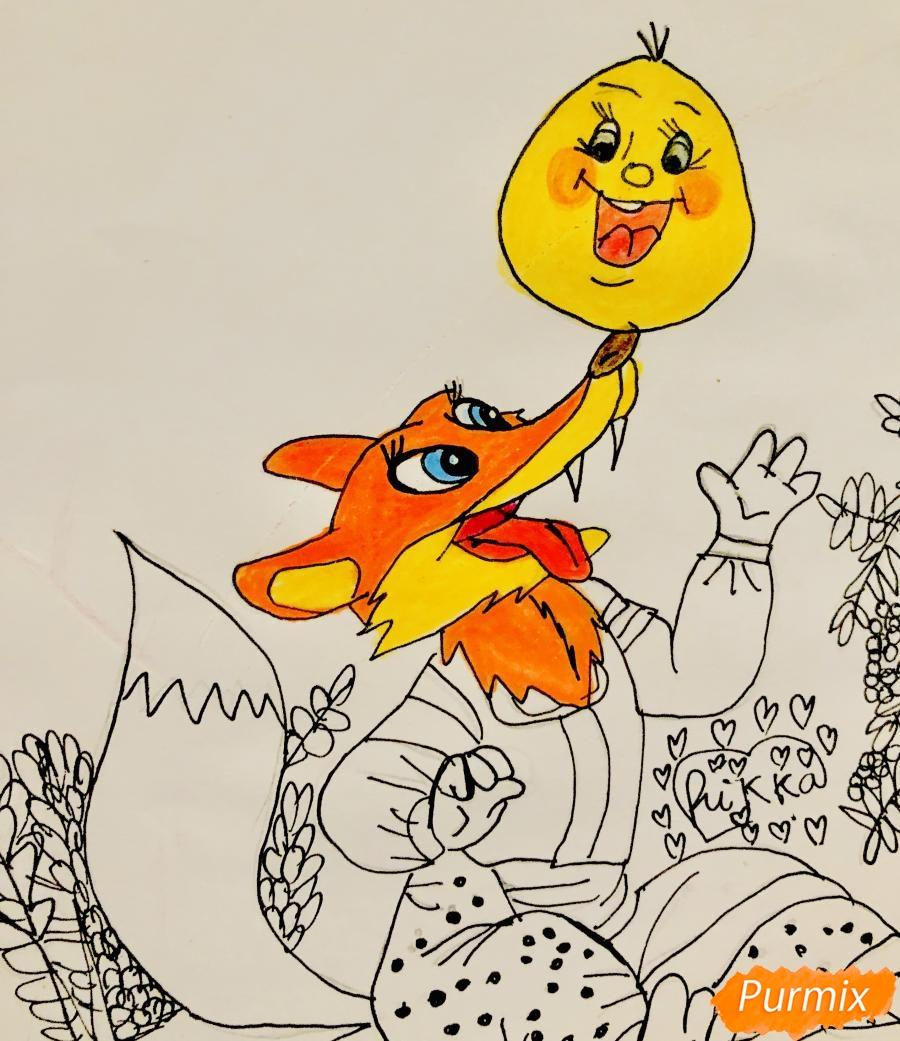Рисуем колобка и личику цветными карандашами - шаг 9