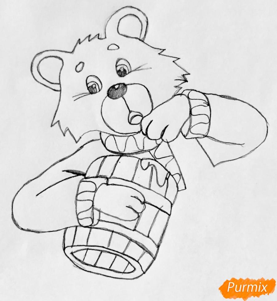 Рисуем колобка мишку и цветными карандашами - шаг 2