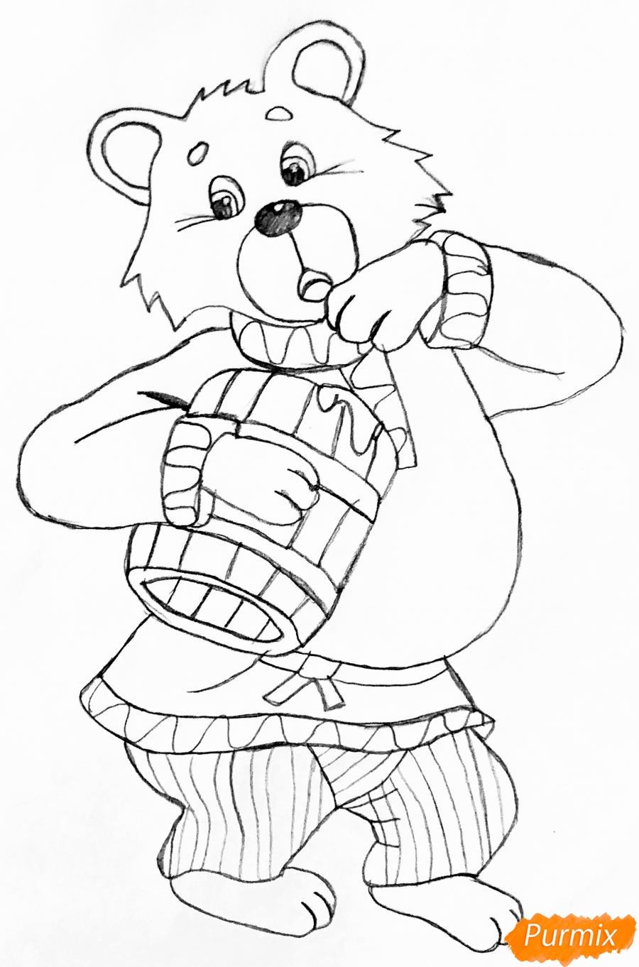Рисуем колобка мишку и цветными карандашами - шаг 3