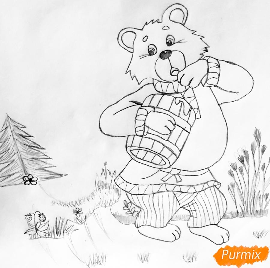 Рисуем колобка мишку и цветными карандашами - шаг 4